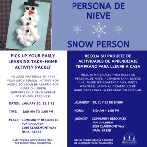 Snow Person Take Home Activity - Persona de Nieve