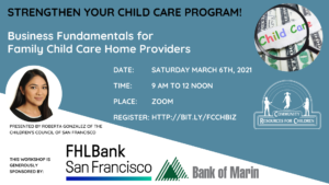Business Fundamentals for FCCH Providers @ Online via Zoom